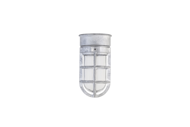 Rated for use in a wet location, a Bullet Cast Guard nautical ceiling fixture configured as shown is $src=