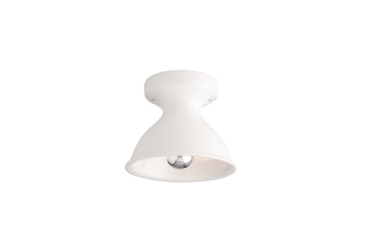 Cast and glazed in Portland, Oregon, a Large Alabax flush mount ceiling fixture can be specified with a UL damp rating and comes in four colors including white as shown; $9 from Schoolhouse Electric.