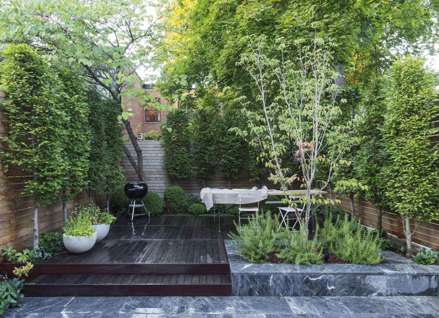 In This Small Brooklyn Backyard, Garden Designer Brook Klausing Used  Imported Marble Pavers And Wooden