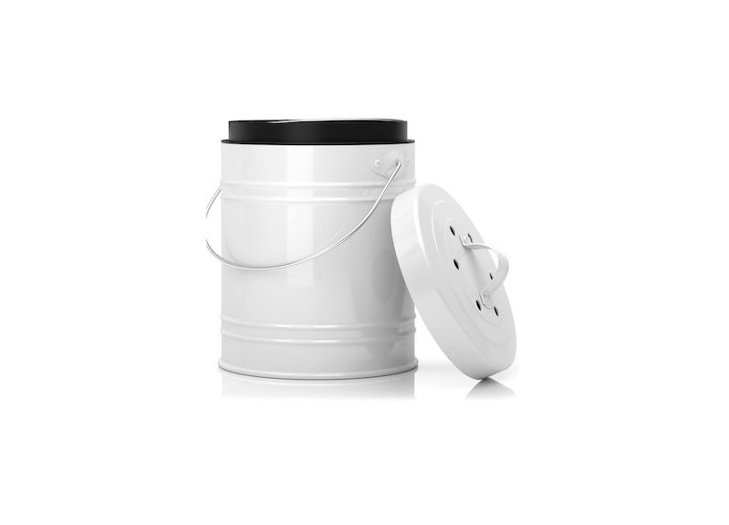A Large 1.3 Gallon Compost Bin With Plastic Liner Is Dishwasher Safe;  $27.99 From
