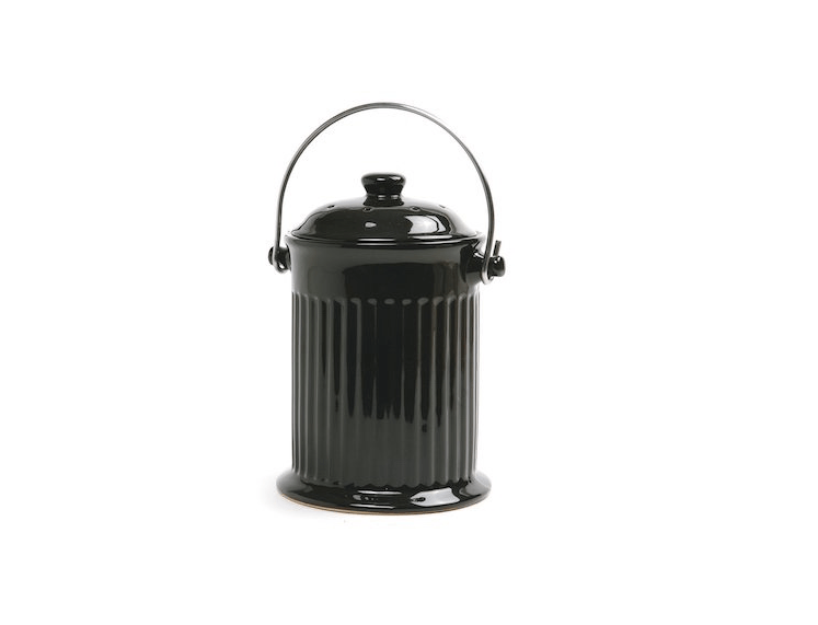 A Black 1 Gallon Ceramic Compost Keeper By Norpro Is $27.49 At Amazon.