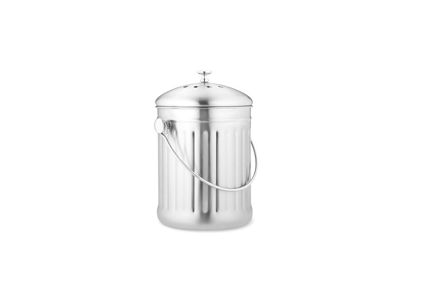 A 1 Gallon Brushed Stainless Steel Composter Has A Charcoal Filter In The  Lid To