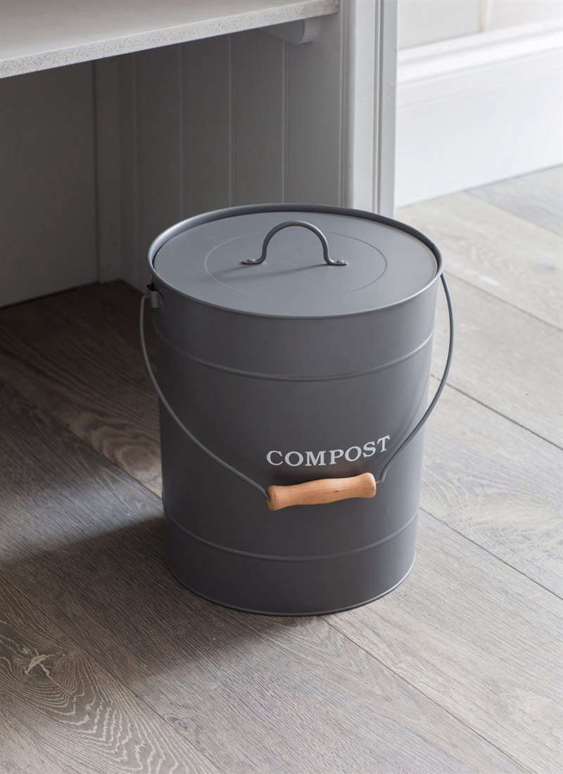 A Steel Compost Bucket In Charcoal With A Wooden Handle Is £35 From Garden  Trading