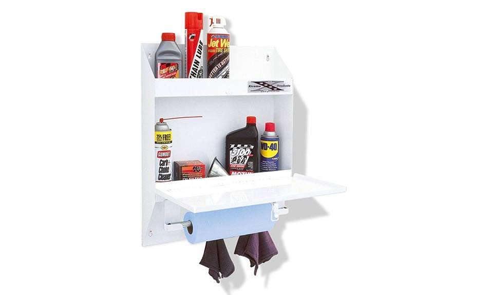 I envision this this powder coated steel Go Rhino Garage and Shop Organizer shelf and towel rack full of gardening supplies and rolls of twine; $106.51 at Walmart.