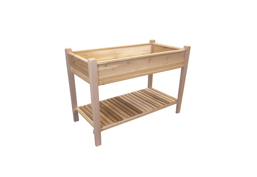 From Tierra Garden, A Rectangular Red Cedar Raised Garden Bed With A Shelf  Is $260.20