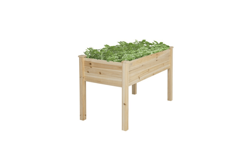 A Rectangular Wooden Raised Garden Bed Is 46 Inches Long And 22 Inches  Wide; $79.99