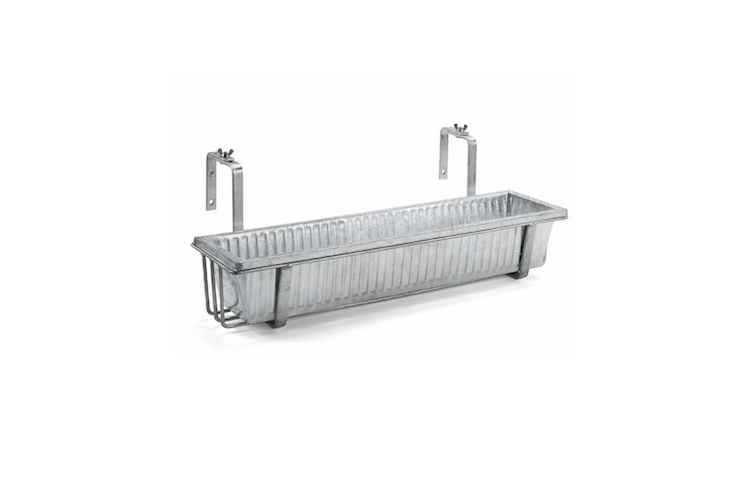 A Galvanized Steel Balcony Box has vertical grooves for added stability against wind. Available in 69.5 and 89.5 centimeter lengths; €.50 and €3src=