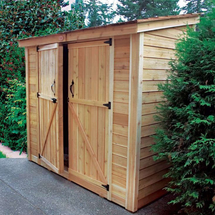 double door lean to garden shed gardenista 733x733 - Garden Sheds Wooden