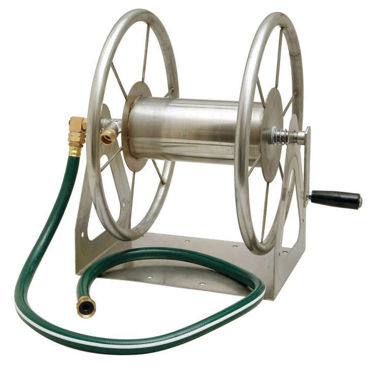 Above: Liberty Garden Productsu0027 Multi Purpose Stainless Steel Hose Reel Can  Be Mounted On A Wall Or In The Ground. It Is 19 Inches Tall, Can Hold Up To  200 ...