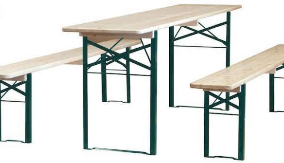 Biergarten Wood Table With Benches