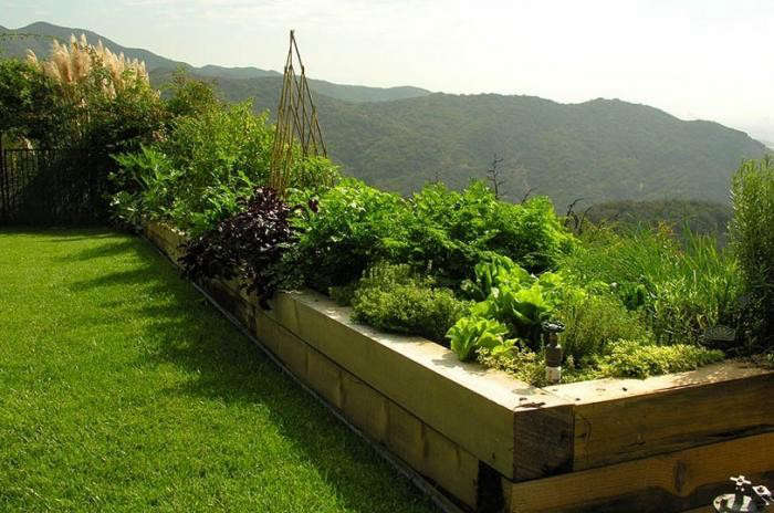Santa Monica-based landscape designer Art Luna considers the raised garden bed to be the essential ingredient of any kitchen garden. Luna's beds are often 24 inches high, offering several benefits (in addition to giving plants room to grow). The design is attractive, and practical because it's a comfortable height for a gardener who wants to sit on the edge of the bed while weeding. Photograph courtesy of Pam Rownak.