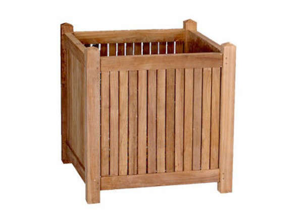 Above: The Anderson Teak Square Box Planter Features Spaced Vertical Wood  Slats; $170 For The 18 Inch Square Box At Wayfair.