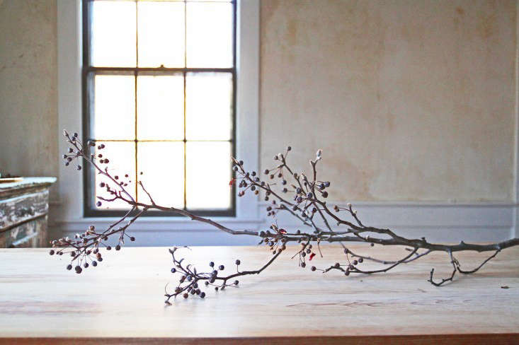 above florists are finding new architectural interest in leafless branches for fall floral arrangements consider quince crabapple or pear as shown