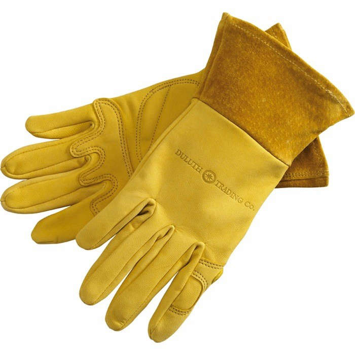 Above: The Rugged Womenu0027s Gauntlet Gardening Gloves Have A Puncture Proof  But Pliable Goatskin Body With Padded Palms And A Nearly 3 Inch Gauntlet To  ...