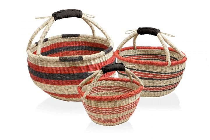 colorful woven harvest baskets from barebones gardenista