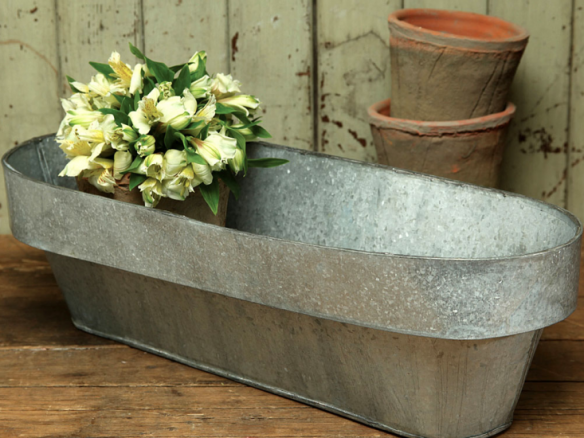 Galvanized Oval Planter