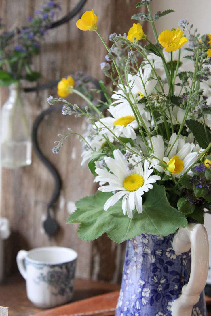 Meadow muddle my laissez faire approach to arranging wildflowers bouquet in blue pitcher on counter izmirmasajfo