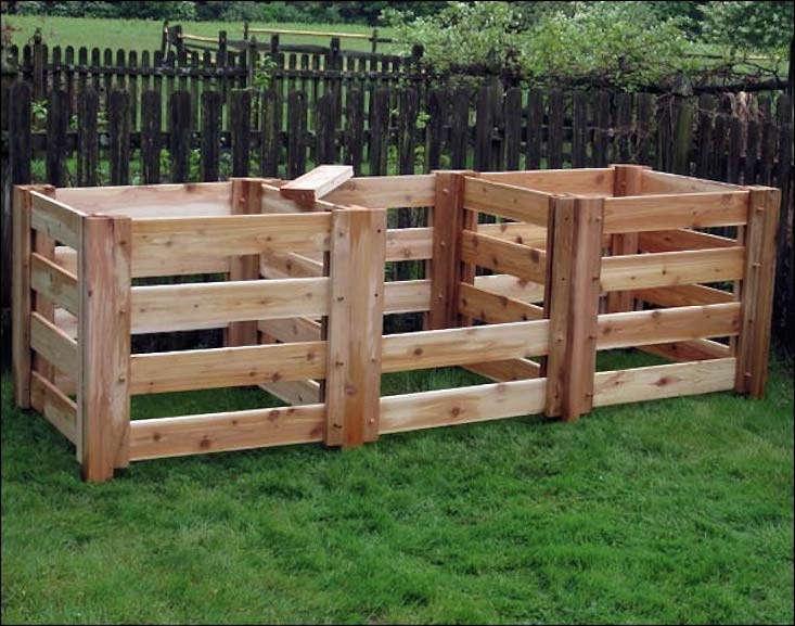 Renoir\'s Red Cedar 3-Compartment Compost Bin