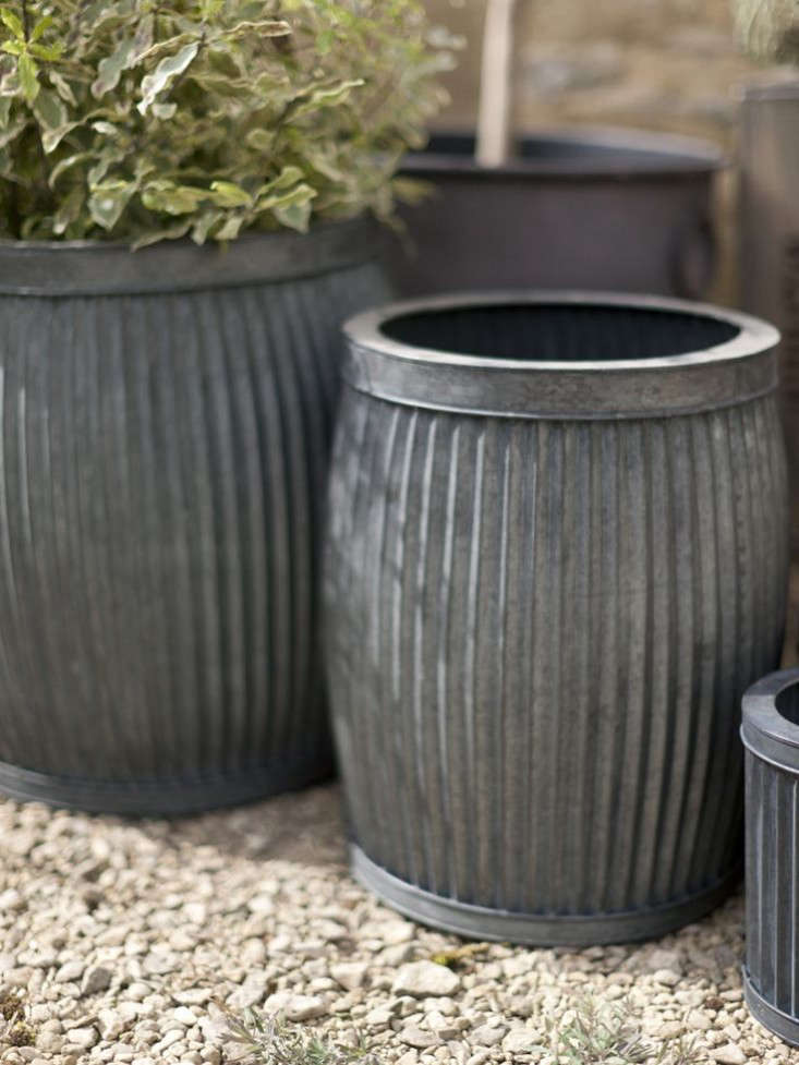 Two Fluted Zinc Planters - Tall on chrome planters, window boxes planters, tall planters, large planters, aluminum planters, copper finish planters, lead planters, urn planters, round corrugated planters, corrugated raised planters, pewter planters, bucket planters, old planters, iron planters, stone planters, stainless steel planters, plastic planters, wall mounted planters, long rectangular planters, resin planters,