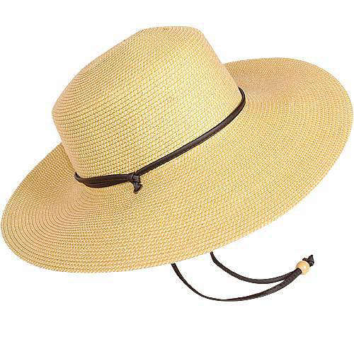 3c0f0333aa4 This Braided Wide Hat has a sun protection rating of SPF 50   19.99 from  Gardeners Edge.