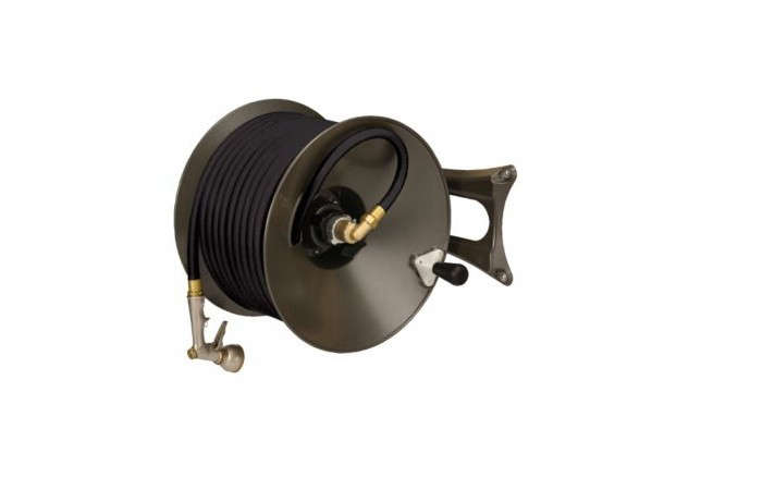Above: A Wall Mounted Hose Reel Made Of Die Cast Aluminum Is Painted A Dark  Bronze Color And Can Be Mounted For Either Left  Or Right Handed Operation;  ...