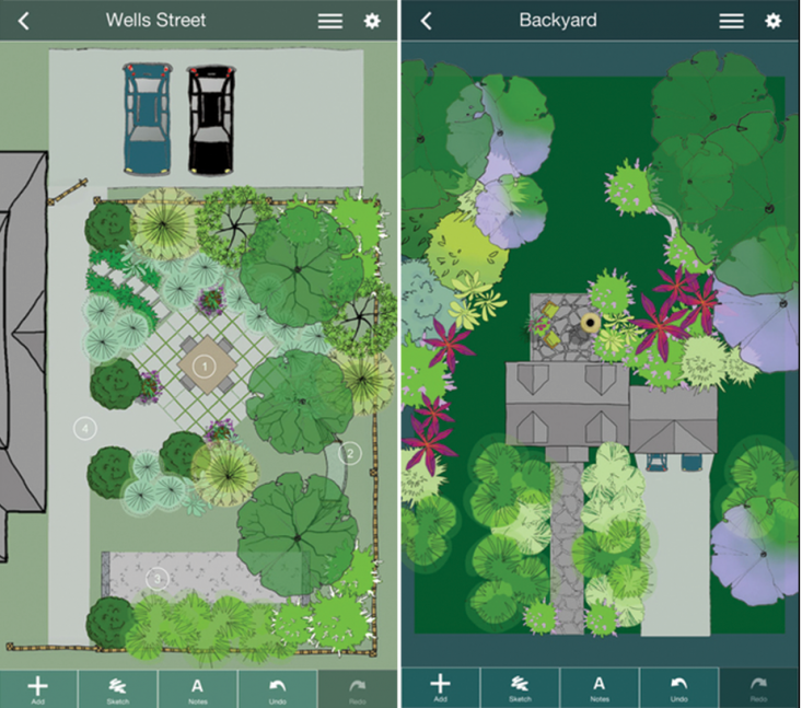 Above: With in-app purchases, you can choose from four garden palettes:  perennials, shrubs, grasses, and container plants (or you can free-hand  sketch ... - Mobile Me: A Landscape Design App That Gets Personal - Gardenista
