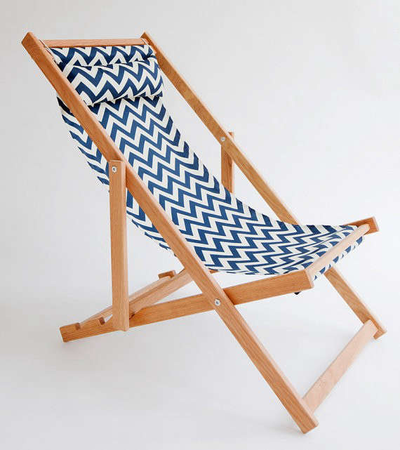Above: A Handmade Huron Deck Chair With A Chevron Pattern Polyester Sling  And Frame Made Of North American White Oak Packs Flat; Made In Vancouver,  ...