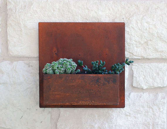 Metal Wall Planter square metal succulent wall art planter