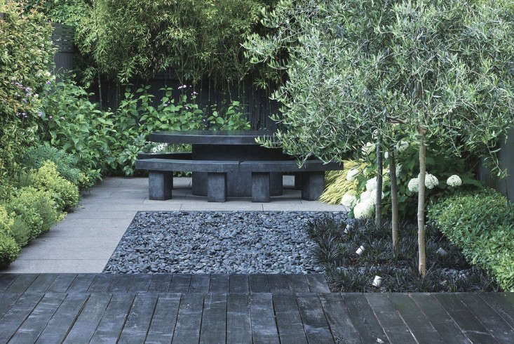 Above: In The Back Of The Garden, A Table And Benches For Seating Draws The  Eye To A Distant Destination. Along The Back Fence Is Planted A Stand Of ...