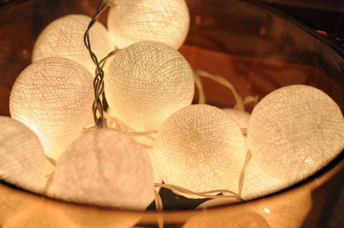 Above: A 20 Light Hanging String Of Light Balls Is Made Of Rattan Wrapped  With Cotton. Suitable For Both Outdoor And Indoor Use, Itu0027s $12 From  Cottonlight ...