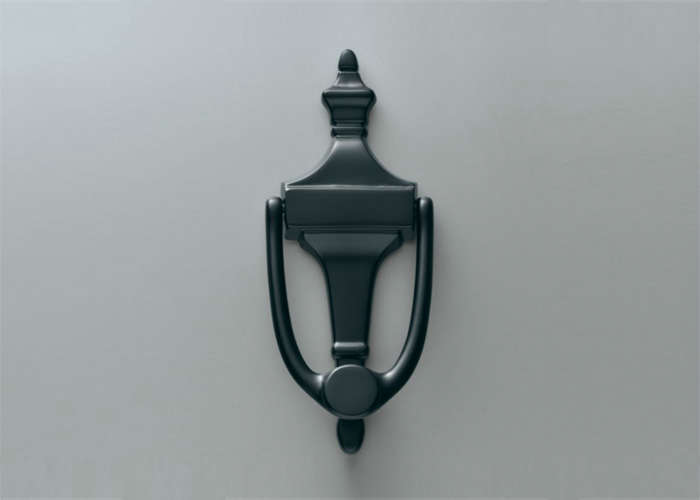 above the small plate door knocker from restoration hardware shown in oilrubbed bronze is 43