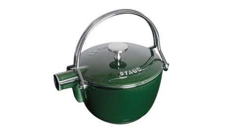 staub basil enameled cast iron round tea kettle