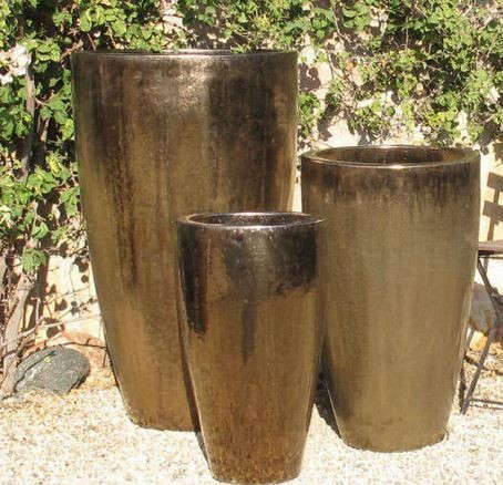 Tall Cone Planters Metallic Gold