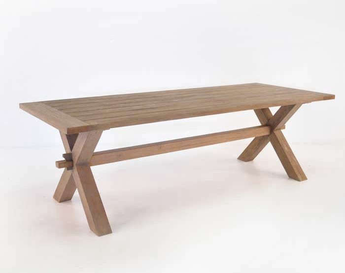 Rustic X Leg Teak Dining Table
