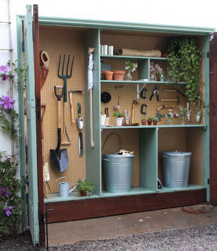 Garden Potting Shed Steal this look my mini garden shed in a garage gardenista tiny potting shed michelles garage gardenista workwithnaturefo