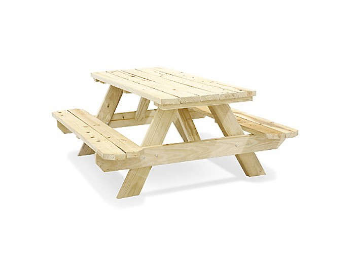 Above: An Unfinished Wood Picnic Table Made Of Pressure Treated Pine Boards  Has Rust Resistant Hardware. It Measures 72 Inches Long By 59 Inches Wide  By 28 ...