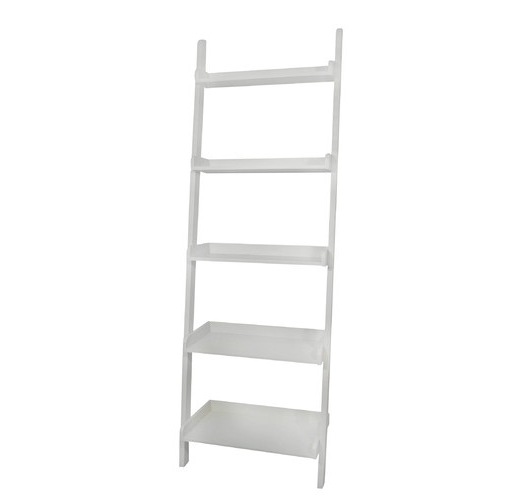Above: At 75.25 Inches Tall, A Five Tier Leaning Shelf Is Made Of Solid  Rubberwood And Is $118.99 From Wayfair.