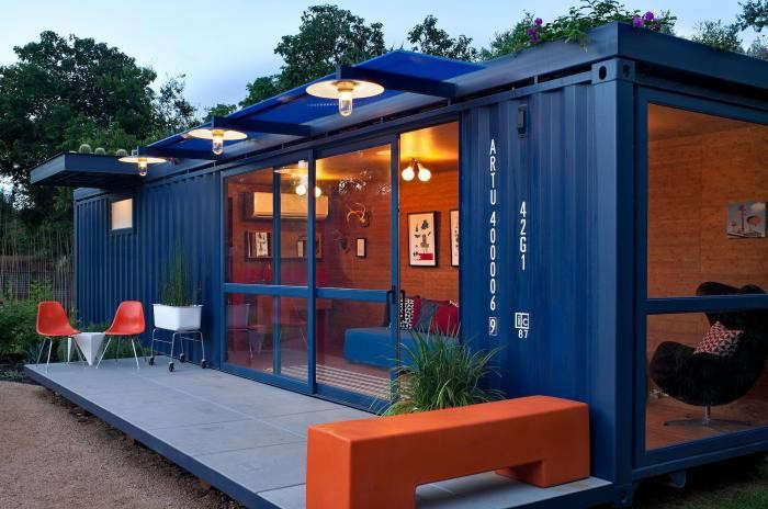Bon Above: A Guest House/garden Retreat/playhouse Made From A Repurposed Steel Shipping  Container By Jim Poteet Of Poteet Architects In San Antonio, Texas.