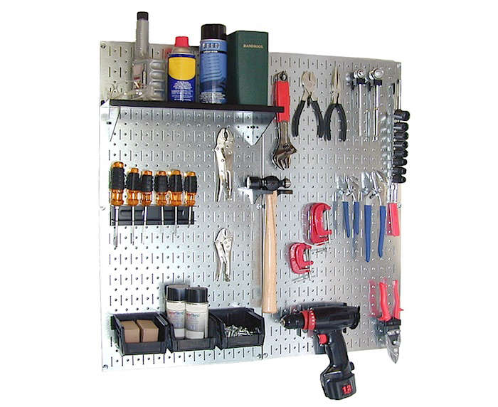 Leave the flimsy and rust-prone pegboards behind. The aptly named Wall Control Galvanized Steel Pegboard Organizer is ten times stronger than traditional pegboard, meaning you can hang more safely and securely.The kit includes two galvanized pegboard panels (32 square inches of coverage), a shelf, three plastic bins with bin hanger, a screwdriver holder, a hammer holder, 15 assorted hooks and brackets, and mounting hardware and instructions; $55.99 at Amazon.