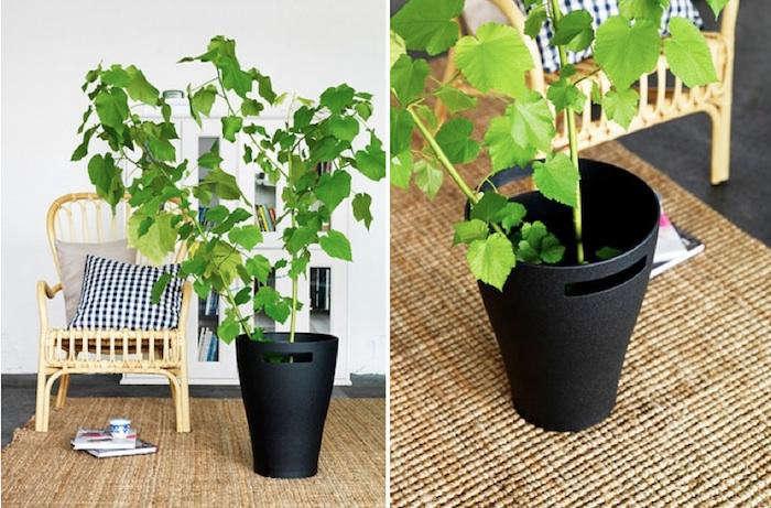 dadel black planter pot