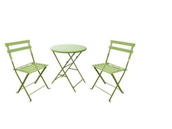 3 Piece Folding Metal Patio Bistro Furniture Set