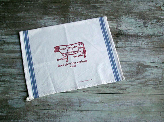 Cuts Of Beef Tea Towel