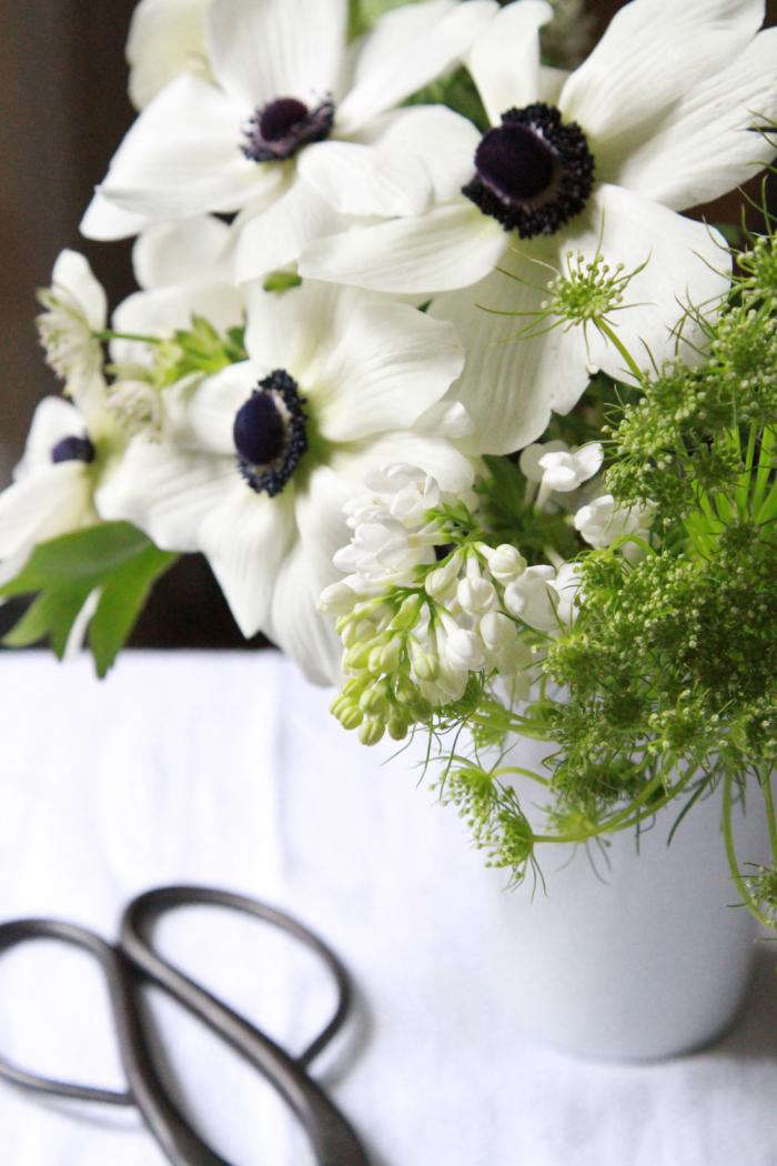 bouquet of the week splurge on black and white anemones gardenista