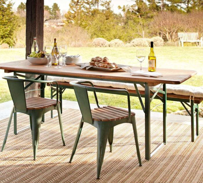 folding outdoor dining set teak gardenista favorites folding outdoor dining tables