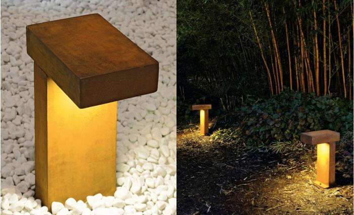 10 easy pieces pathway lighting gardenista above the rusty outdoor path light is made of cor ten cast steel and is extremely weather proof the light is provided by a low voltage fluorescent ballast aloadofball