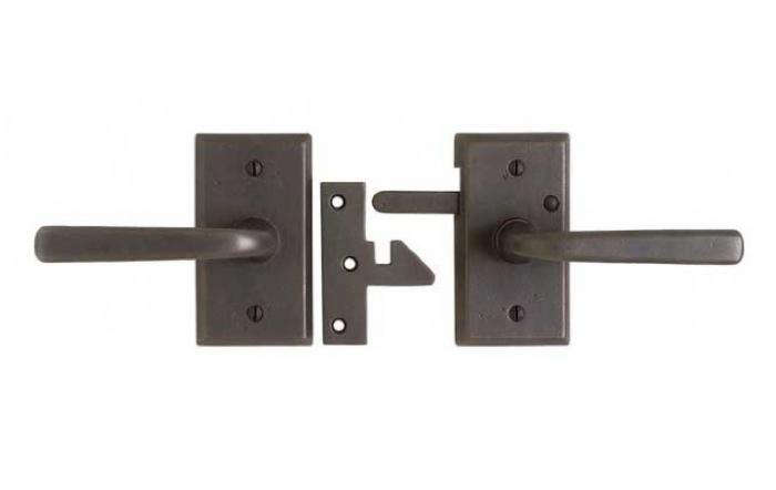 Above: The Rocky Mountain Rectangular Gate Passage Set Includes Escutcheons  (2.5 By 4.5 Inches) And Levers For Both Sides Of The Gate.