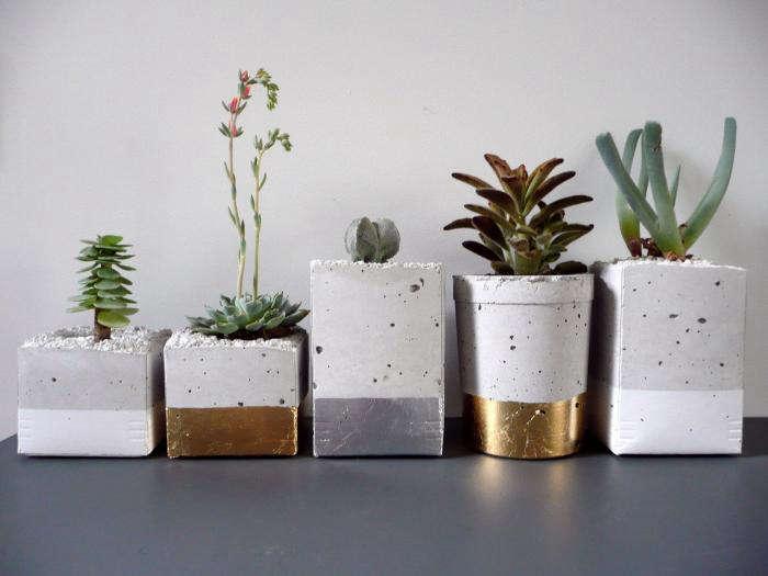 glamorous gold and silver leaf planters gardenista. Black Bedroom Furniture Sets. Home Design Ideas