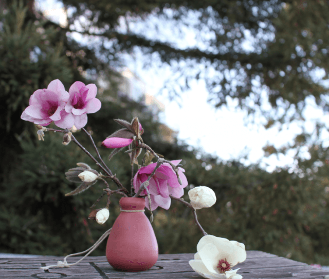 Roebuck created an arresting floral arrangement out of foraged magnolia blossoms that she spotted in someone&#8