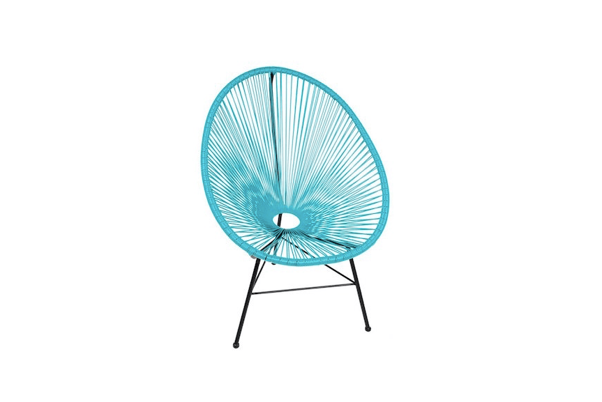AnAcapulco Wire Basket Papasan Chair resembles a hammock. Expected back in stock on October 1, it is $249.99 from All Modern.