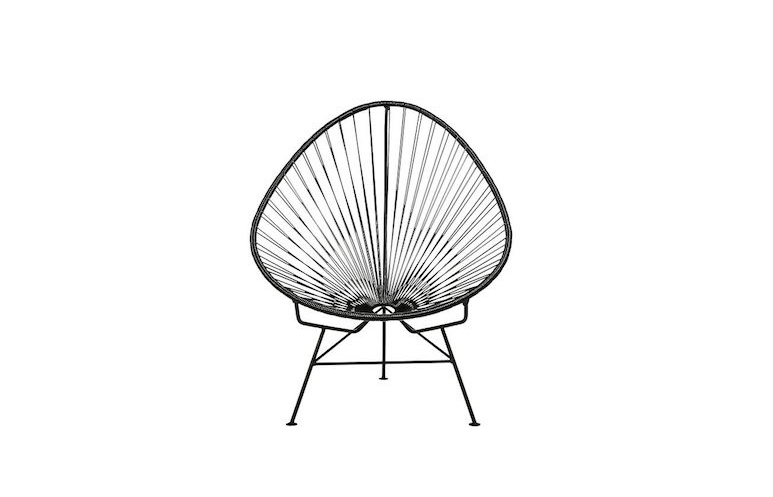 An Acapulco Black Egg Outdoor Chair has a black powder coated steel tube frame and woven black PVC cord; it is $279 from CB2.